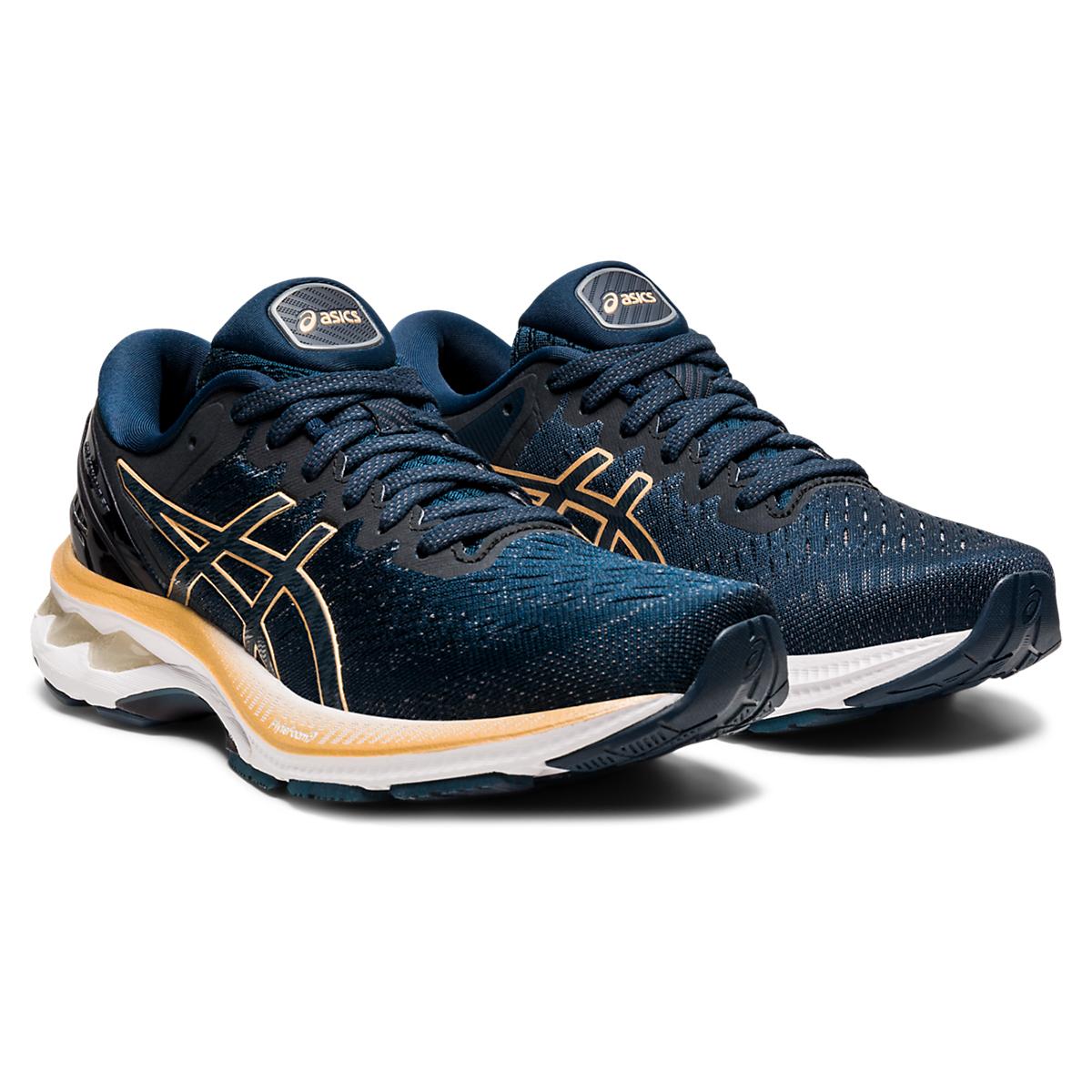 Women's Asics Gel-Kayano 27 Running Shoe - Color: French Blue/Black/Orange - Size: 5 - Width: Regular, French Blue/Black/Orange, large, image 4