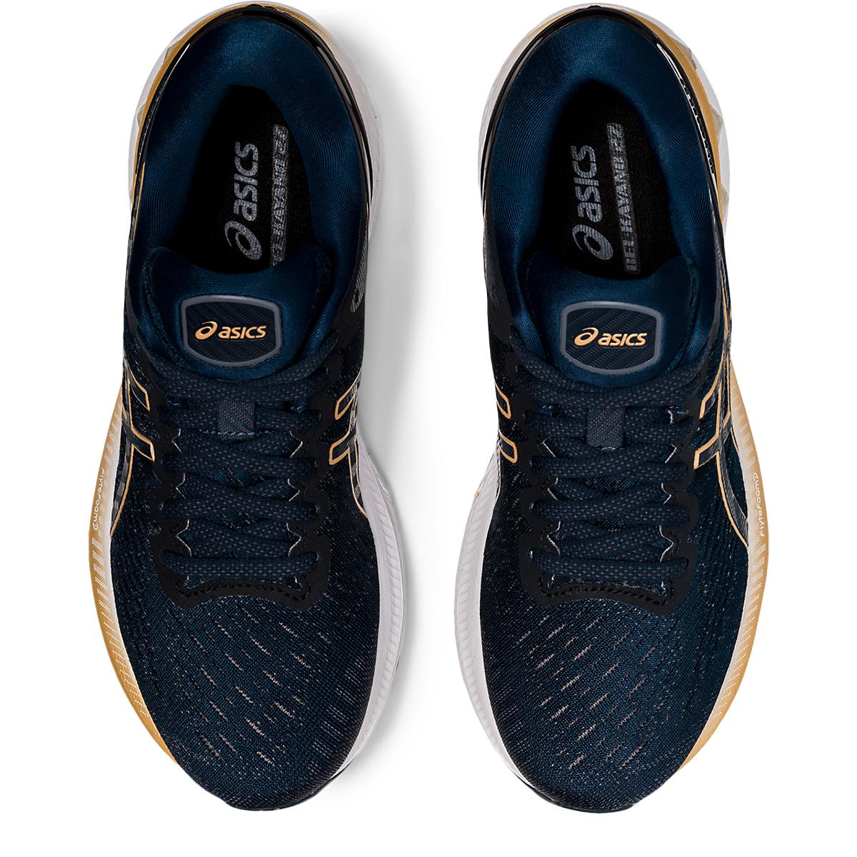 Women's Asics Gel-Kayano 27 Running Shoe - Color: French Blue/Black/Orange - Size: 5 - Width: Regular, French Blue/Black/Orange, large, image 6