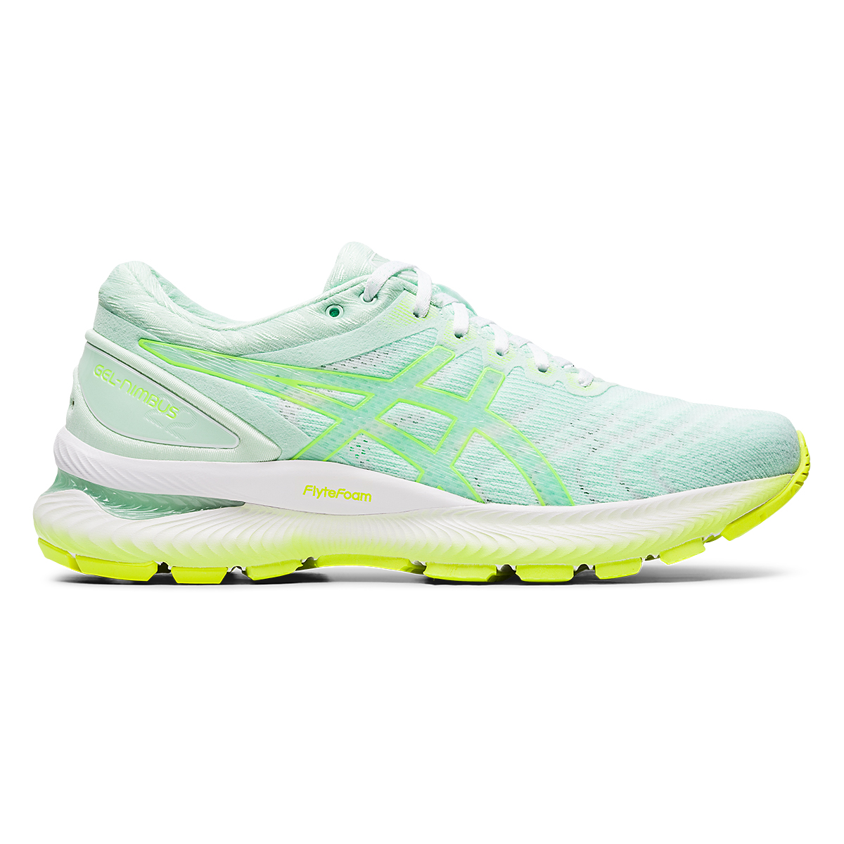 Women's Asics GEL-Nimbus 22 Modern Tokyo Running Shoe - Color: Mint Tint/Safety Yellow - Size: 5 - Width: Regular, Mint Tint/Safety Yellow, large, image 1