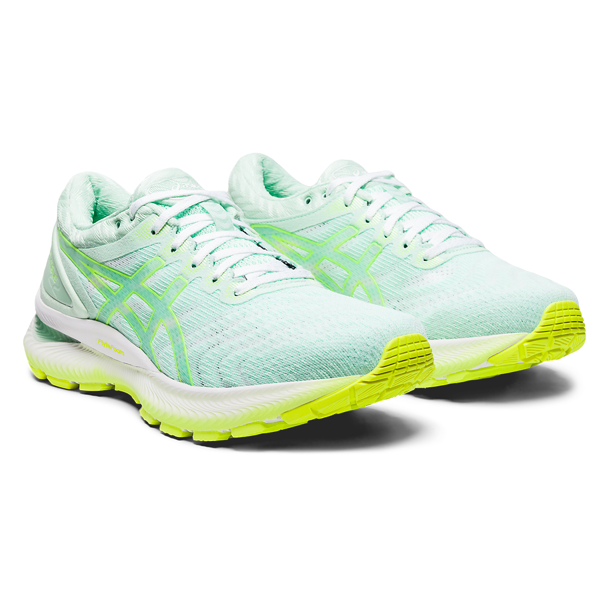 Women's Asics GEL-Nimbus 22 Modern Tokyo Running Shoe - Color: Mint Tint/Safety Yellow - Size: 5 - Width: Regular, Mint Tint/Safety Yellow, large, image 2