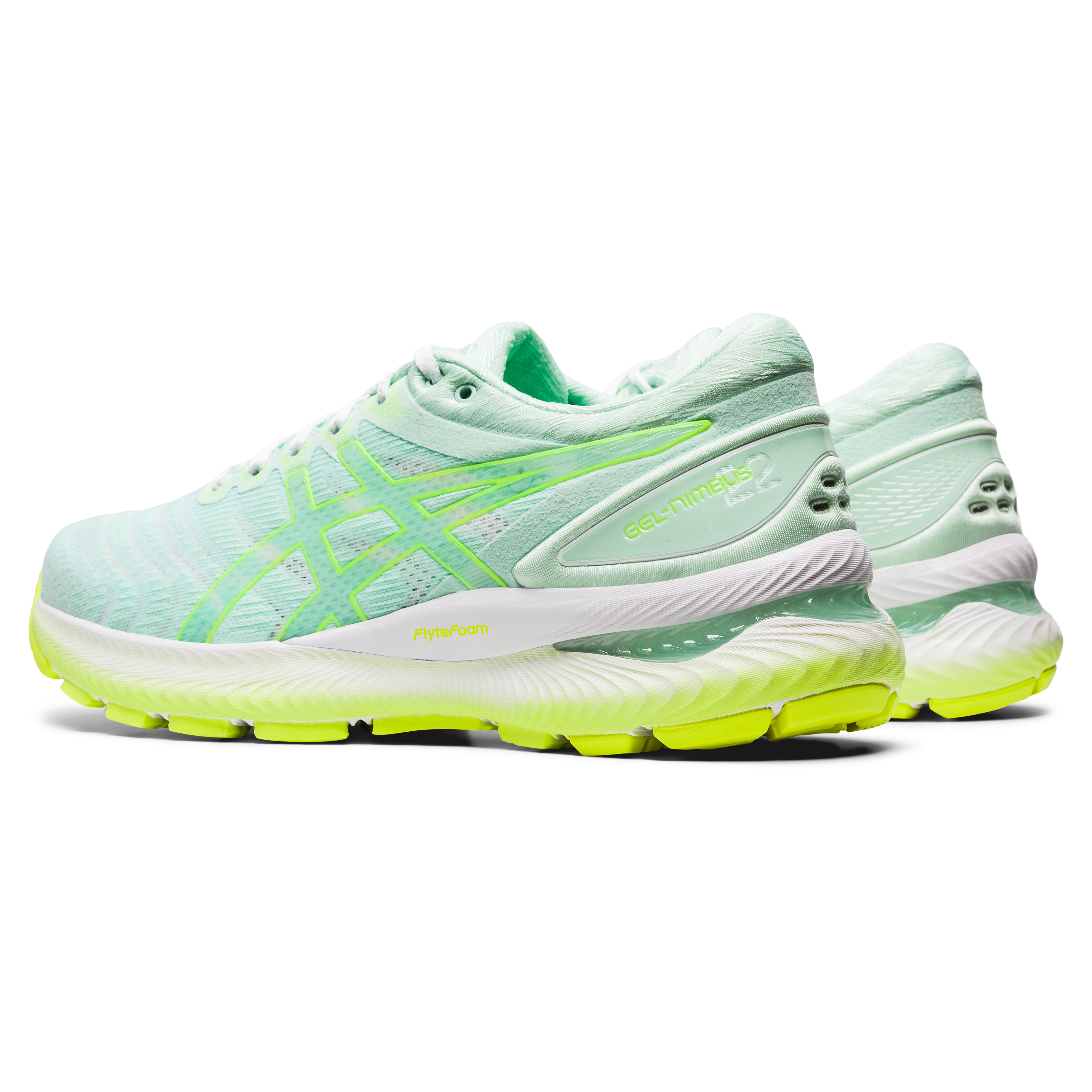 Women's Asics GEL-Nimbus 22 Modern Tokyo Running Shoe - Color: Mint Tint/Safety Yellow - Size: 5 - Width: Regular, Mint Tint/Safety Yellow, large, image 4