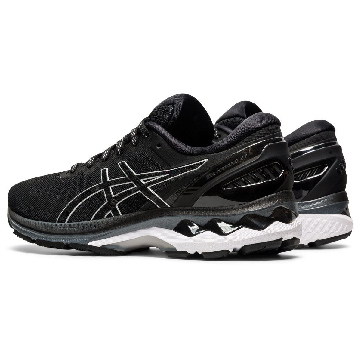 Women's Asics GEL-Kayano 27 Running Shoe - Color: Black/Pure Silv (Regular Width) - Size: 5, Black/Pure Silv, large, image 4