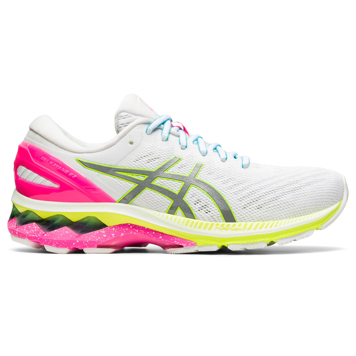 Women's Asics GEL-Kayano 27 Lite-Show Running Shoe - Color: White/Pure Silv (Regular Width) - Size: 5, White/Pure Silver, large, image 1