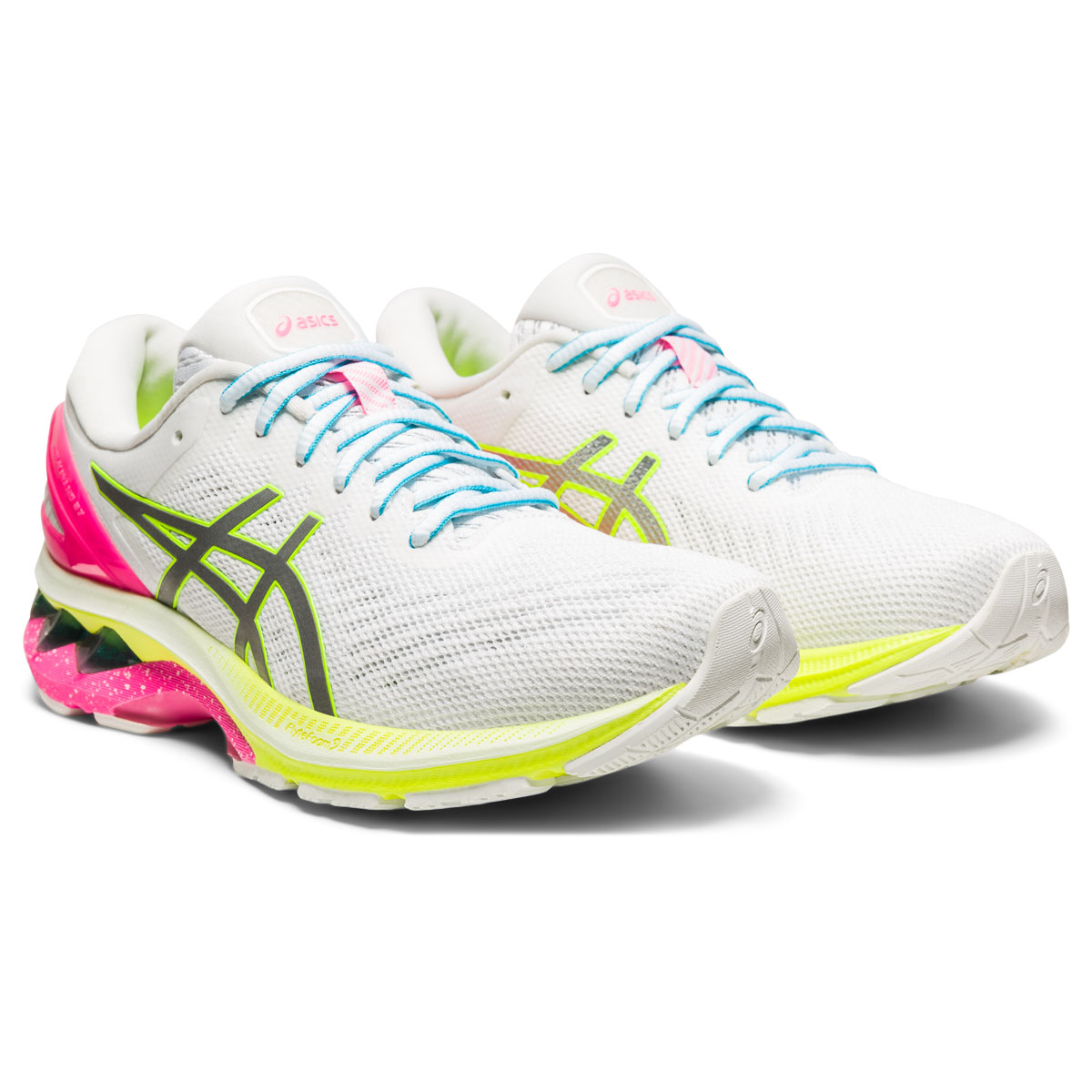 Women's Asics GEL-Kayano 27 Lite-Show Running Shoe - Color: White/Pure Silv (Regular Width) - Size: 5, White/Pure Silver, large, image 3