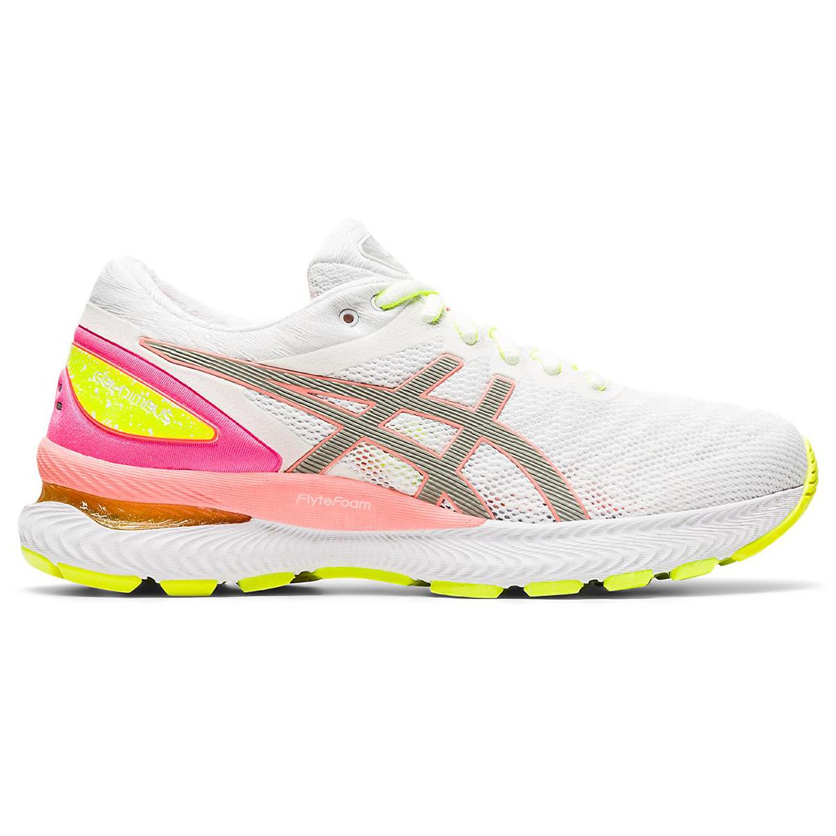 Women's Asics Gel-Nimbus 22 Lite Show Running Shoe - Color: White/Sun Coral - Size: 5 - Width: Regular, White/Sun Coral, large, image 1