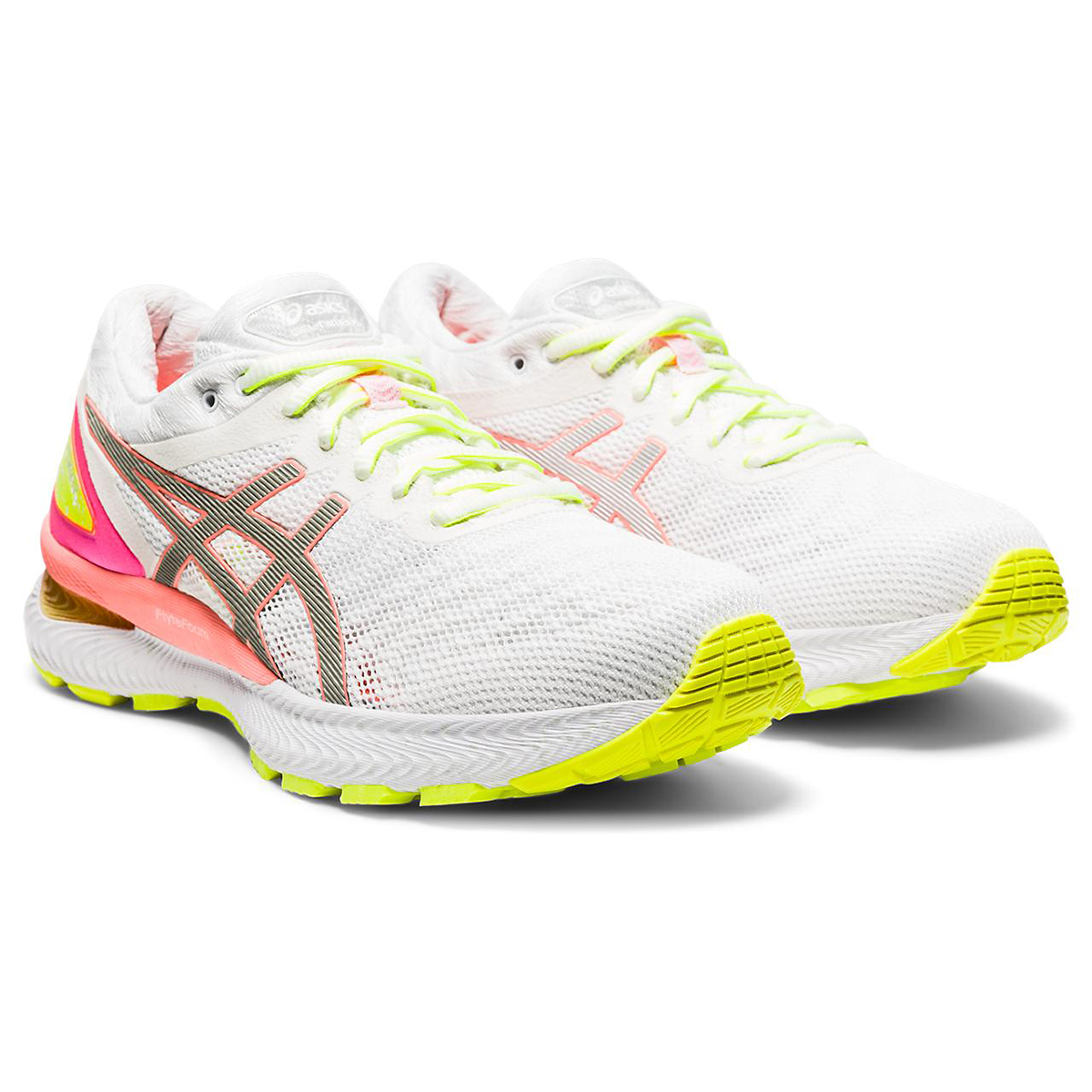 Women's Asics Gel-Nimbus 22 Lite Show Running Shoe - Color: White/Sun Coral - Size: 5 - Width: Regular, White/Sun Coral, large, image 2