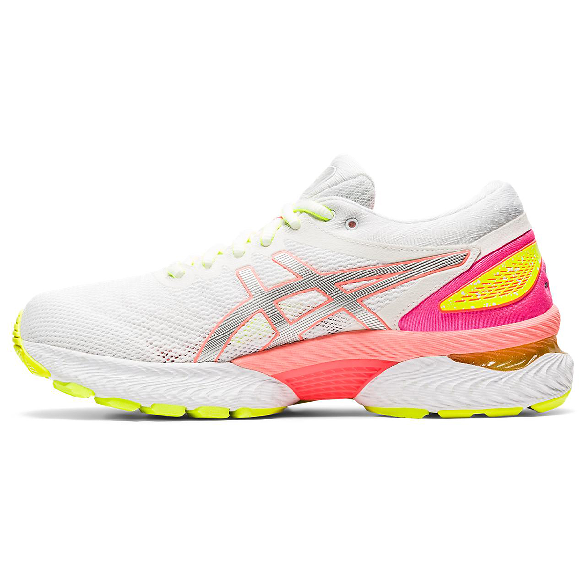 Women's Asics Gel-Nimbus 22 Lite Show Running Shoe - Color: White/Sun Coral - Size: 5 - Width: Regular, White/Sun Coral, large, image 3