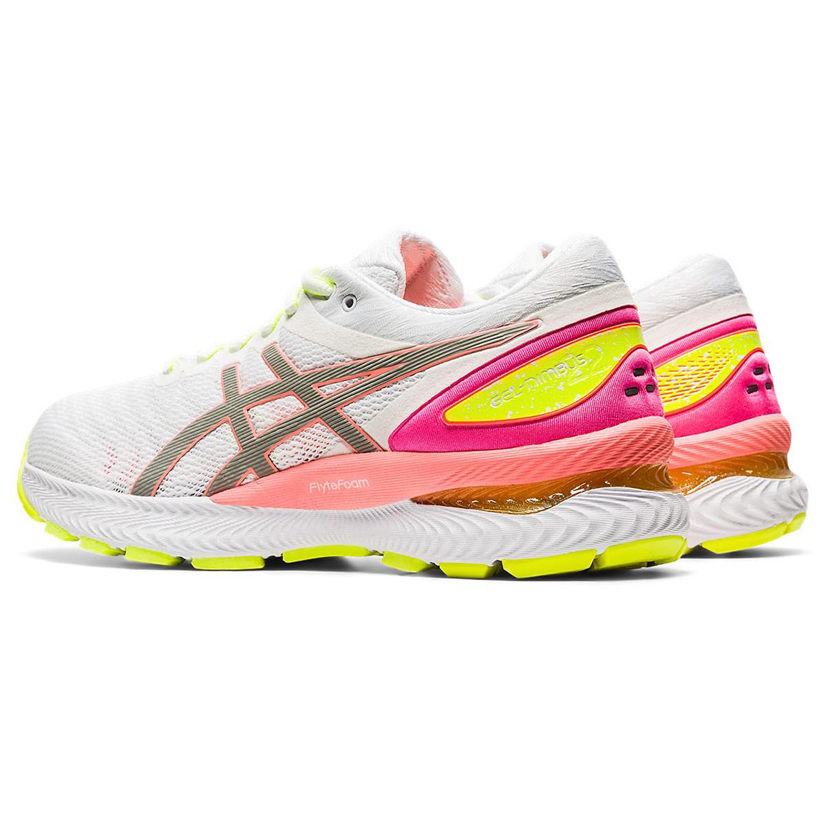 Women's Asics Gel-Nimbus 22 Lite Show Running Shoe - Color: White/Sun Coral - Size: 5 - Width: Regular, White/Sun Coral, large, image 4