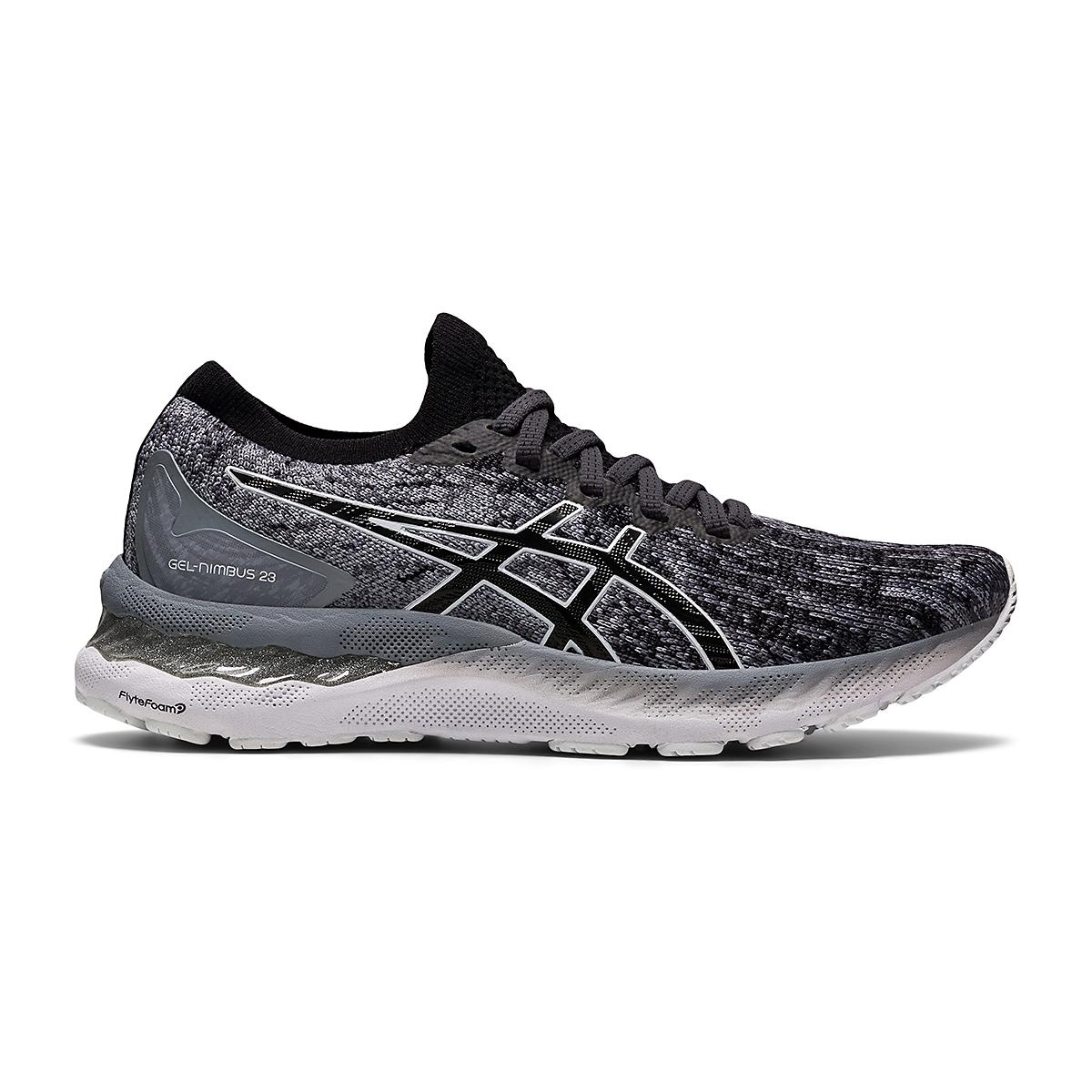 Women's Asics Gel-Nimbus 23 Knit Running Shoe - Color: Sheet Rock/Black - Size: 5 - Width: Regular, Sheet Rock/Black, large, image 1