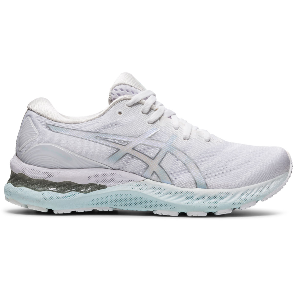 Women's Asics Gel-Nimbus 23 Running Shoe - Color: White/Pure Silver - Size: 5 - Width: Regular, White/Pure Silver, large, image 1
