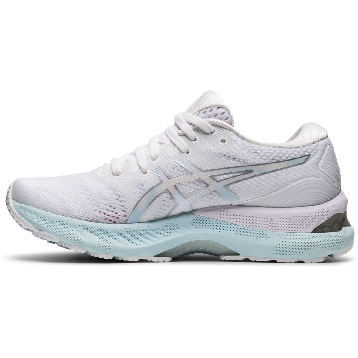 Women's Asics Gel-Nimbus 23 Running Shoe - Color: White/Pure Silver - Size: 5 - Width: Regular, White/Pure Silver, large, image 2