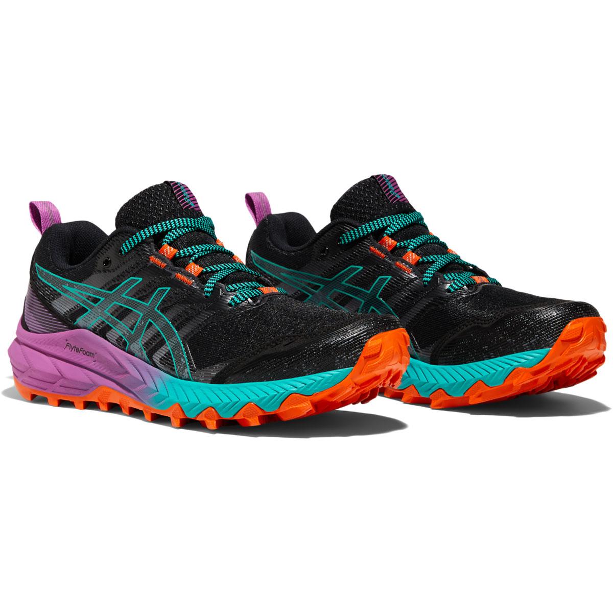 Women's Asics Gel-Trabuco 9 Running Shoe - Color: Black/Baltic Jewel - Size: 5 - Width: Regular, Black/Baltic Jewel, large, image 4