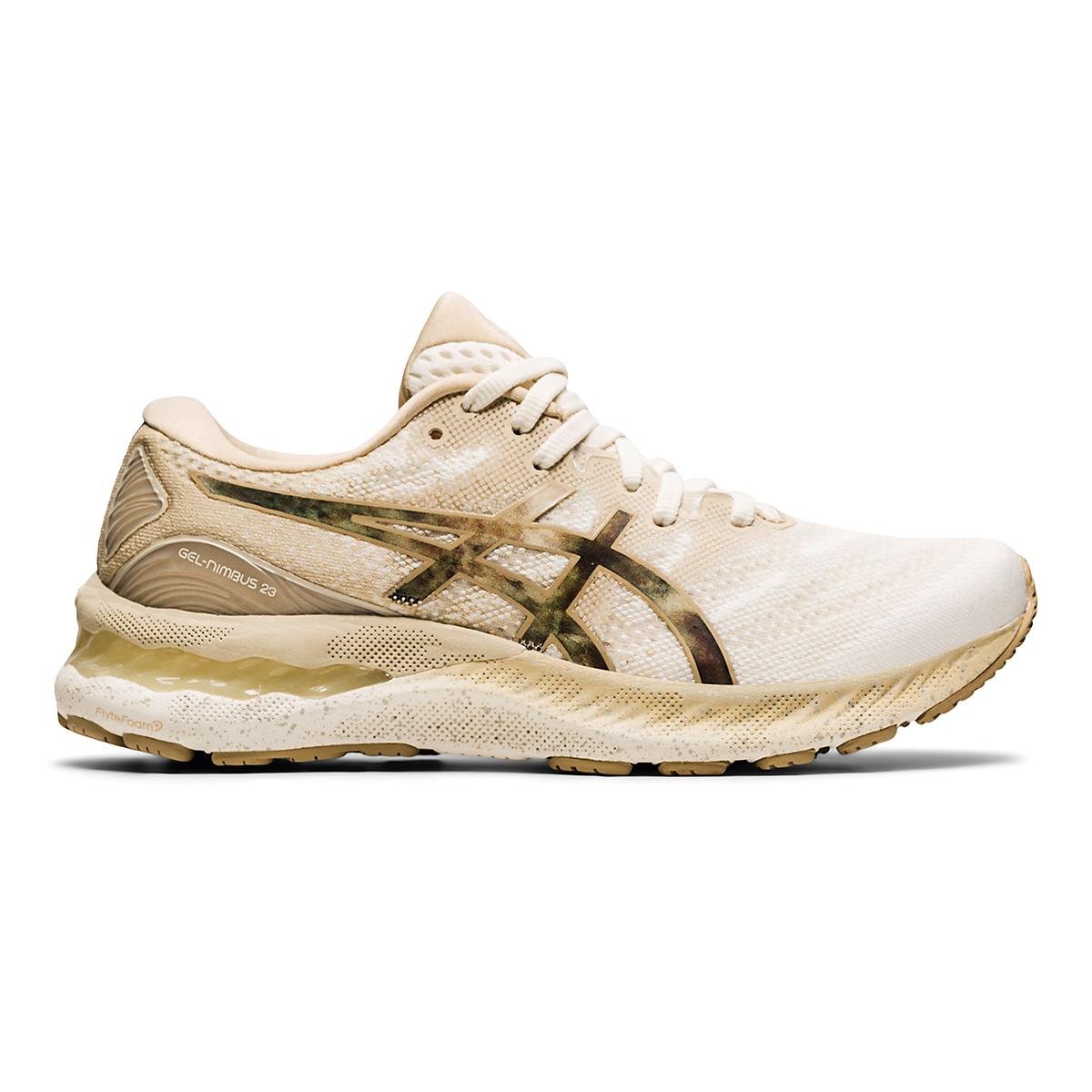 Women's Asics Gel-Nimbus 23 Earth Day Running Shoe - Color: Cream/Putty - Size: 5 - Width: Regular, Cream/Putty, large, image 1