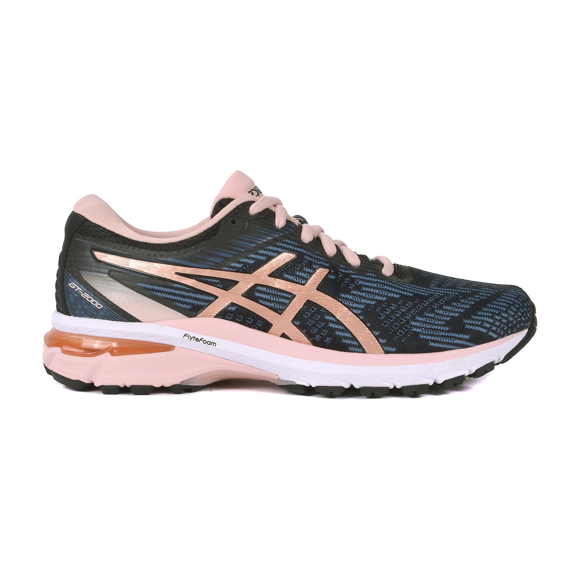 Women's Asics Gt-2000 8 Running Shoe - Color: Black/Blue/Rose Gold (Regular Width) - Size: 5, Black/Blue/Rose Gold, large, image 1