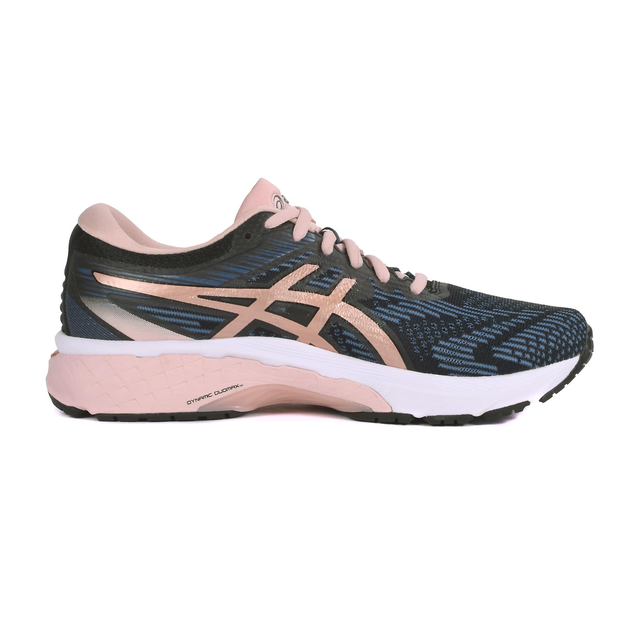 Women's Asics Gt-2000 8 Running Shoe - Color: Black/Blue/Rose Gold (Regular Width) - Size: 5, Black/Blue/Rose Gold, large, image 3
