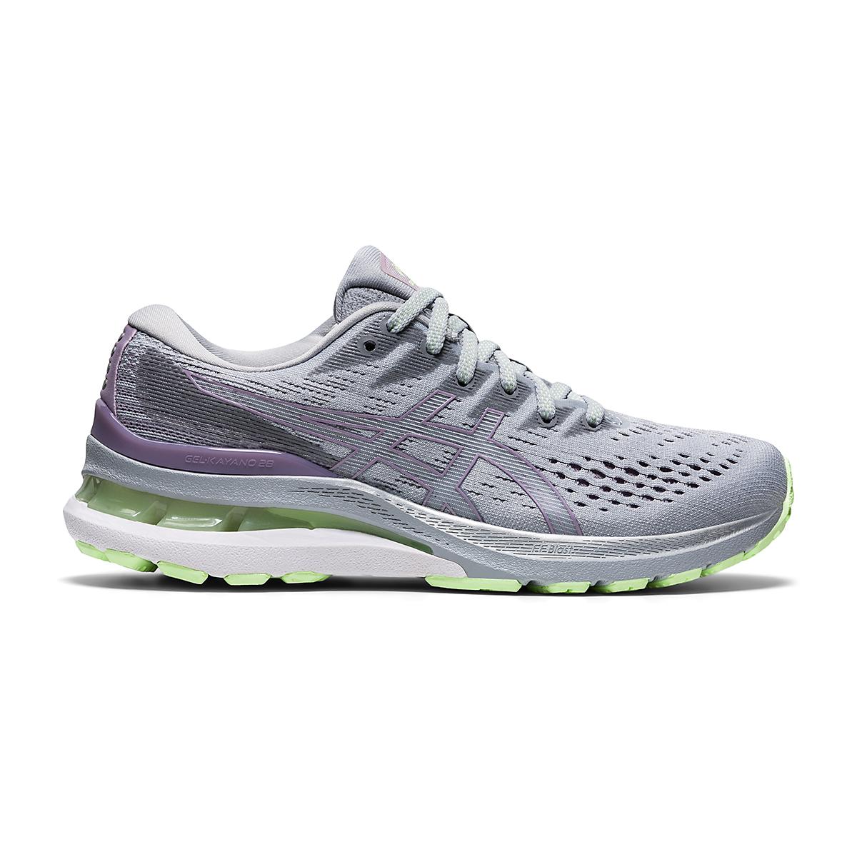 Women's Asics Gel-Kayano 28 Running Shoe - Color: Piedmont Grey/Lavender - Size: 5 - Width: Regular, Piedmont Grey/Lavender, large, image 1