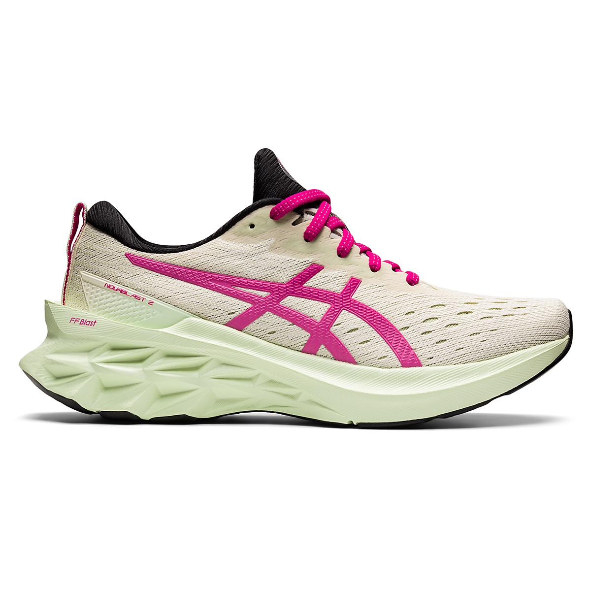 Women's Asics Novablast 2 Running Shoe - Color: Birch/Pink Rave - Size: 5 - Width: Regular, Birch/Pink Rave, large, image 1