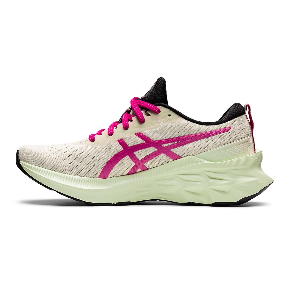 Women's Asics Novablast 2 Running Shoe - Color: Birch/Pink Rave - Size: 5 - Width: Regular, Birch/Pink Rave, large, image 2