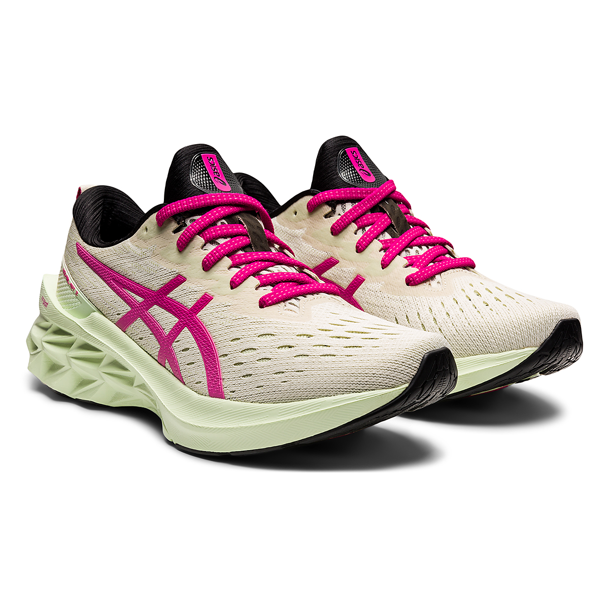 Women's Asics Novablast 2 Running Shoe - Color: Birch/Pink Rave - Size: 5 - Width: Regular, Birch/Pink Rave, large, image 3