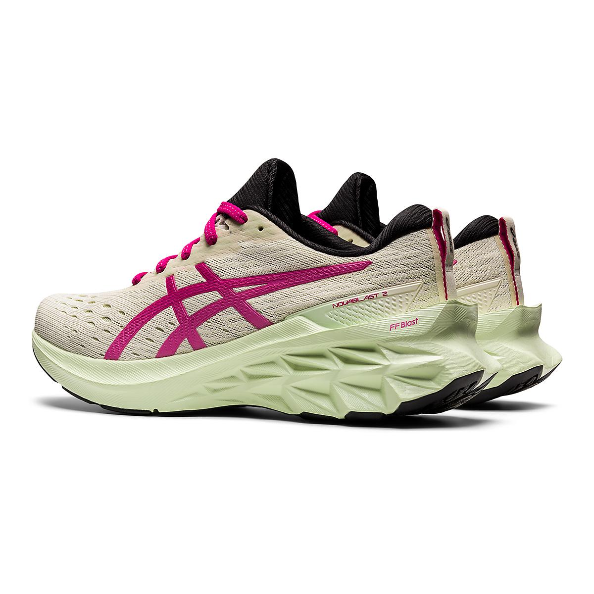 Women's Asics Novablast 2 Running Shoe - Color: Birch/Pink Rave - Size: 5 - Width: Regular, Birch/Pink Rave, large, image 4