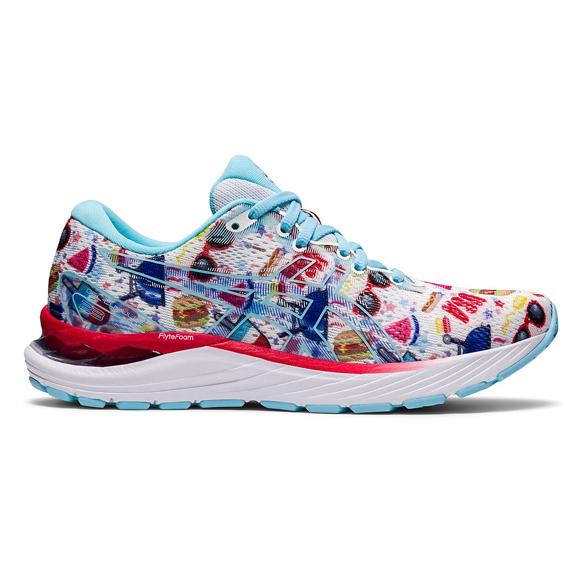 Women's Asics Gel-Cumulus 23 Cookout Running Shoe - Color: White/Asics Blue - Size: 5 - Width: Regular, White/Asics Blue, large, image 1