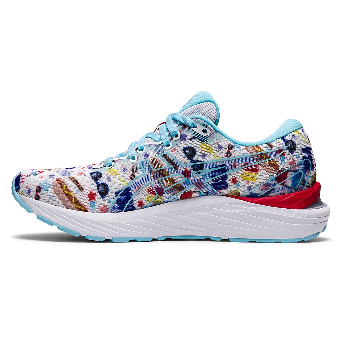 Women's Asics Gel-Cumulus 23 Cookout Running Shoe - Color: White/Asics Blue - Size: 5 - Width: Regular, White/Asics Blue, large, image 2
