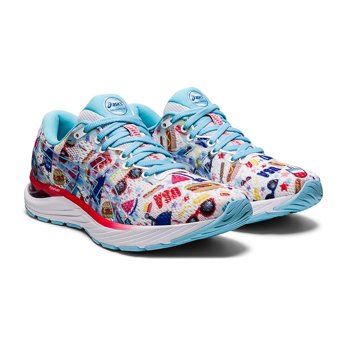 Women's Asics Gel-Cumulus 23 Cookout Running Shoe - Color: White/Asics Blue - Size: 5 - Width: Regular, White/Asics Blue, large, image 3