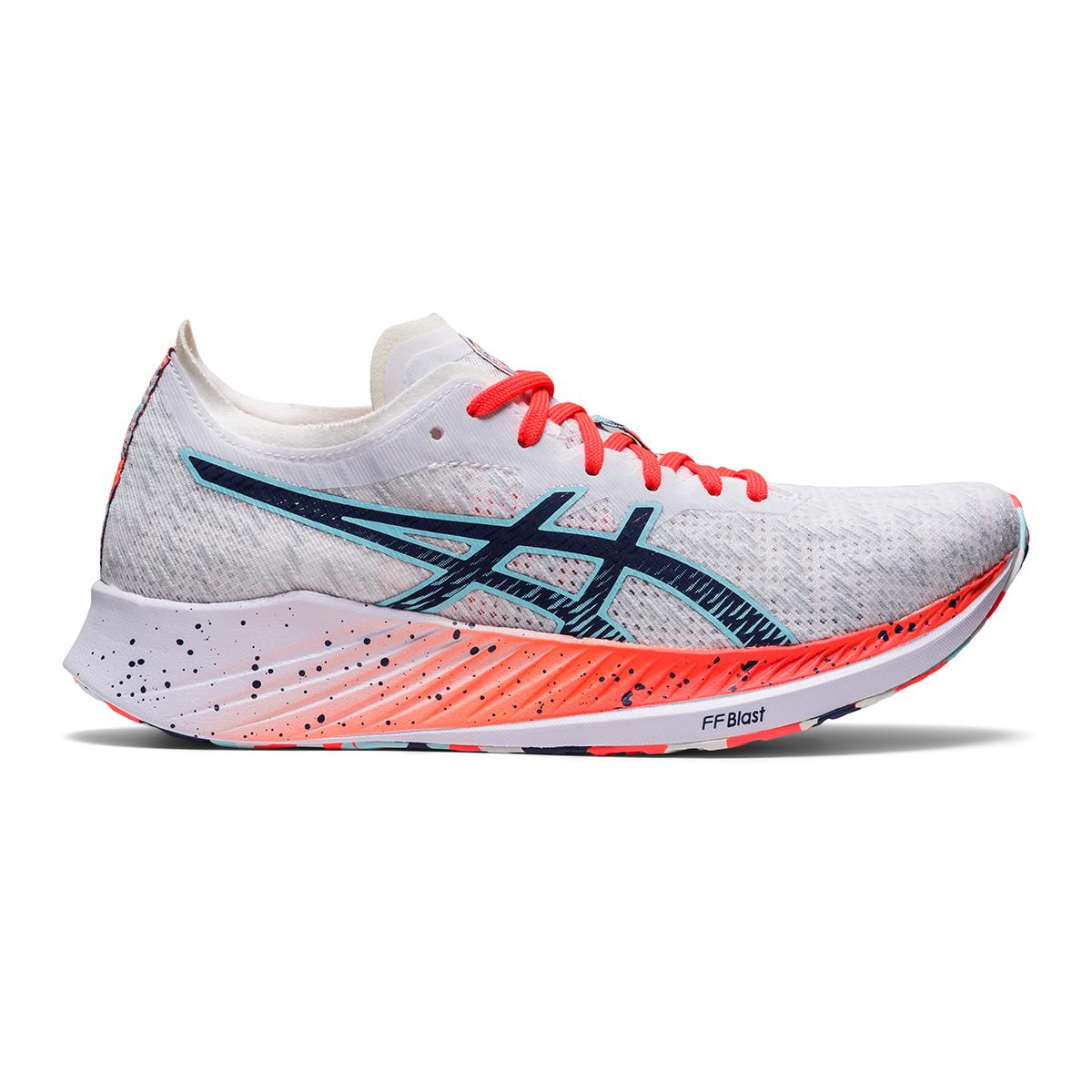 Women's Asics Magic Speed Running Shoe - Color: White/Thunder Blue - Size: 5 - Width: Regular, White/Thunder Blue, large, image 1