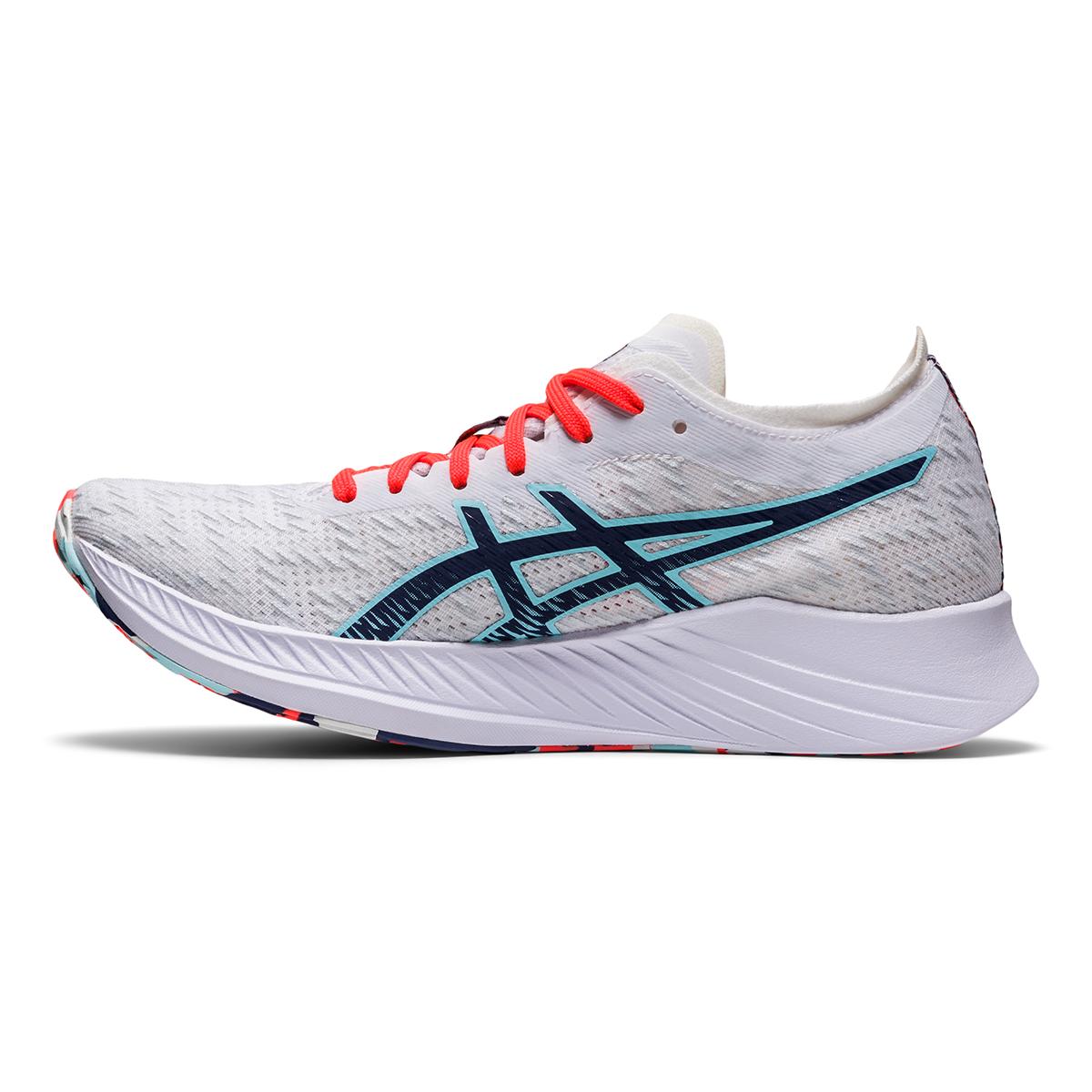 Women's Asics Magic Speed Running Shoe - Color: White/Thunder Blue - Size: 5 - Width: Regular, White/Thunder Blue, large, image 2