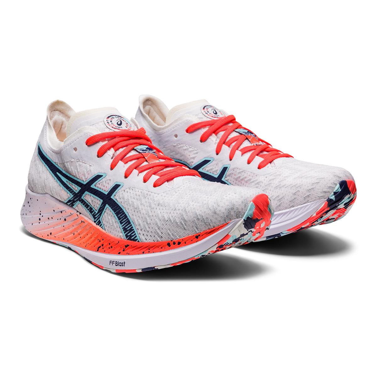 Women's Asics Magic Speed Running Shoe - Color: White/Thunder Blue - Size: 5 - Width: Regular, White/Thunder Blue, large, image 5