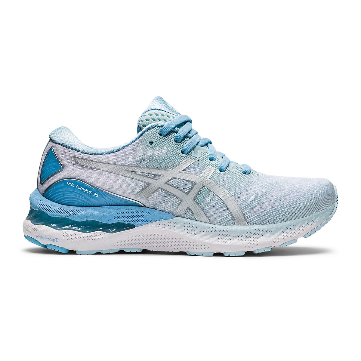 Women's Asics Gel-Nimbus 23 Running Shoe - Color: Aqua Angel/Pure - Size: 5 - Width: Regular, Aqua Angel/Pure, large, image 1