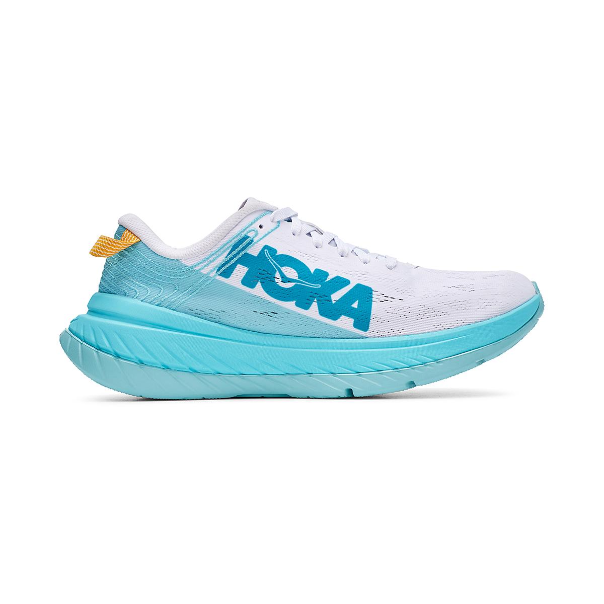 Women's Hoka One One Carbon X Running Shoe - Color: White/Angel Blue - Size: 5 - Width: Regular, White/Angel Blue, large, image 1