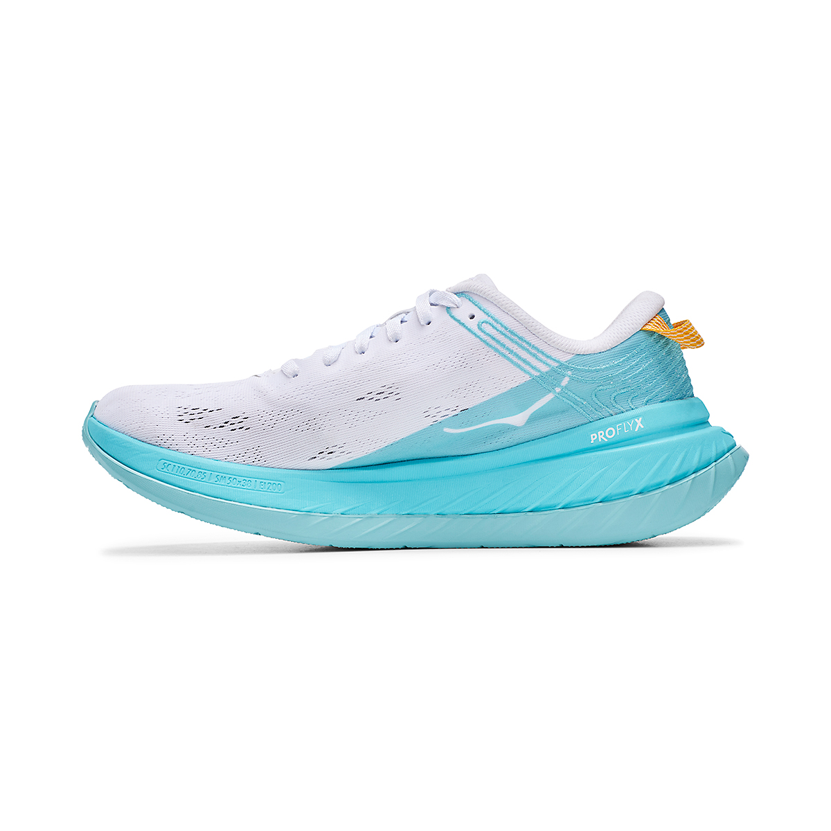 Women's Hoka One One Carbon X Running Shoe - Color: White/Angel Blue - Size: 5 - Width: Regular, White/Angel Blue, large, image 2