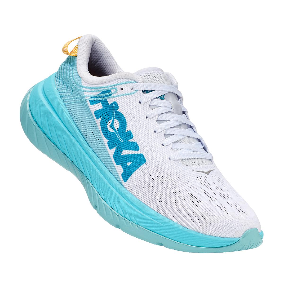Women's Hoka One One Carbon X Running Shoe - Color: White/Angel Blue - Size: 5 - Width: Regular, White/Angel Blue, large, image 3