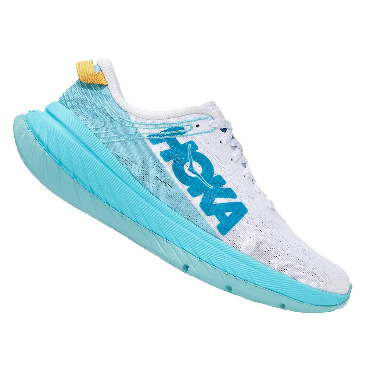 Women's Hoka One One Carbon X Running Shoe - Color: White/Angel Blue - Size: 5 - Width: Regular, White/Angel Blue, large, image 4