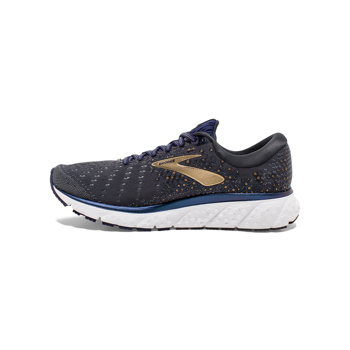 Men's Brooks Glycerin 17 Running Shoe - Color: Grey/Navy/Gold (Regular Width) - Size: 7, Grey/Navy/Gold, large, image 2