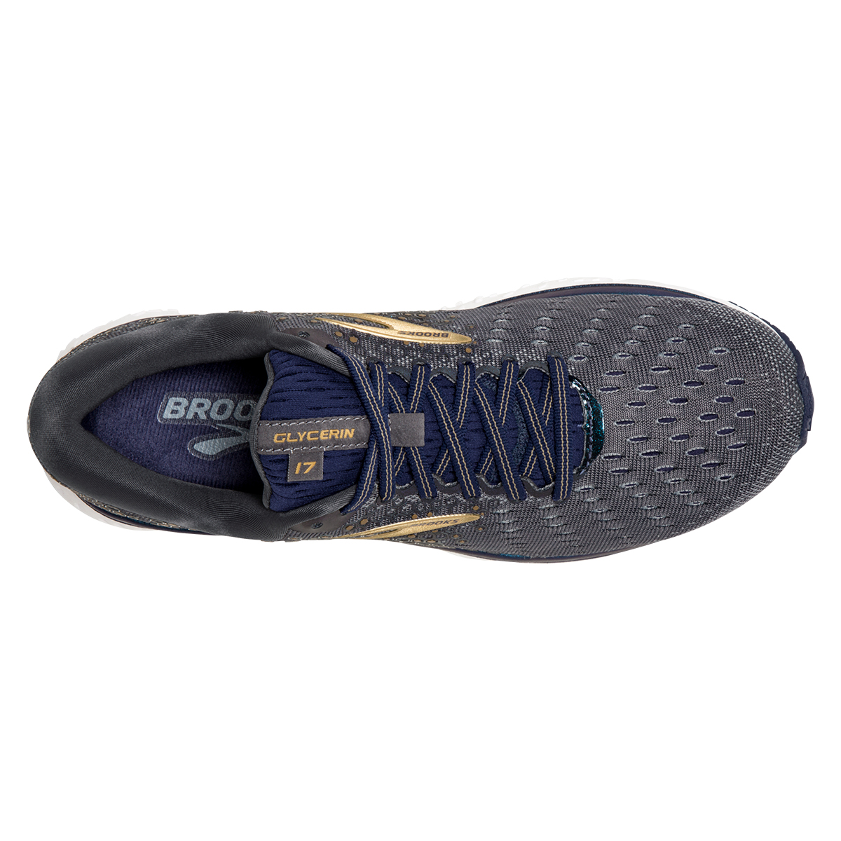 Men's Brooks Glycerin 17 Running Shoe - Color: Grey/Navy/Gold (Regular Width) - Size: 7, Grey/Navy/Gold, large, image 3