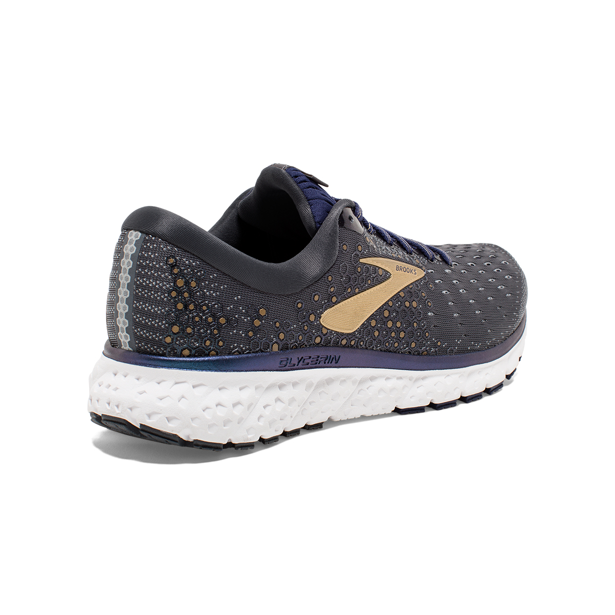 Men's Brooks Glycerin 17 Running Shoe - Color: Grey/Navy/Gold (Regular Width) - Size: 7, Grey/Navy/Gold, large, image 4