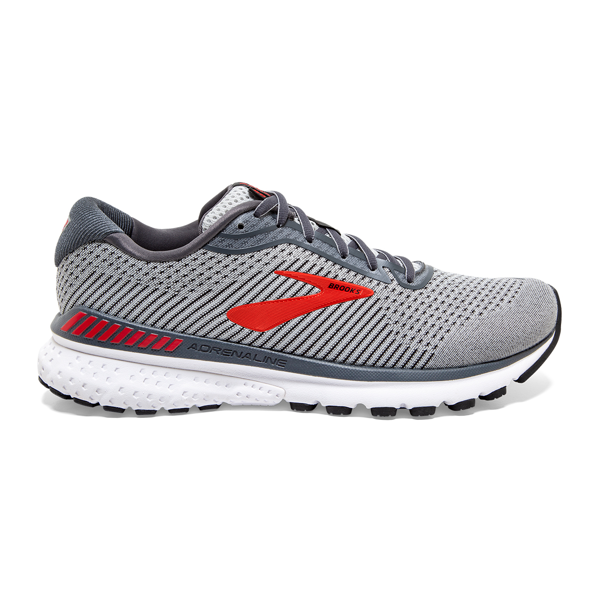 Men's Brooks Adrenaline GTS 20 Running Shoe - Color: Grey/Ebony/Red - Size: 7 - Width: Regular, Grey/Ebony/Red, large, image 1