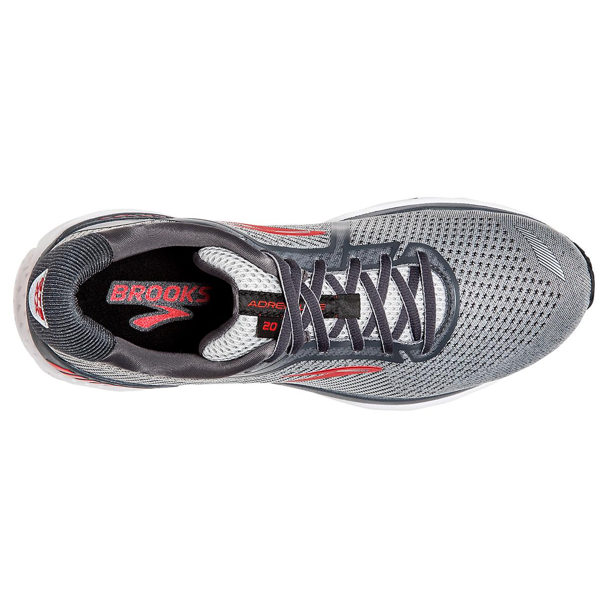 Men's Brooks Adrenaline GTS 20 Running Shoe - Color: Grey/Ebony/Red - Size: 7 - Width: Regular, Grey/Ebony/Red, large, image 2