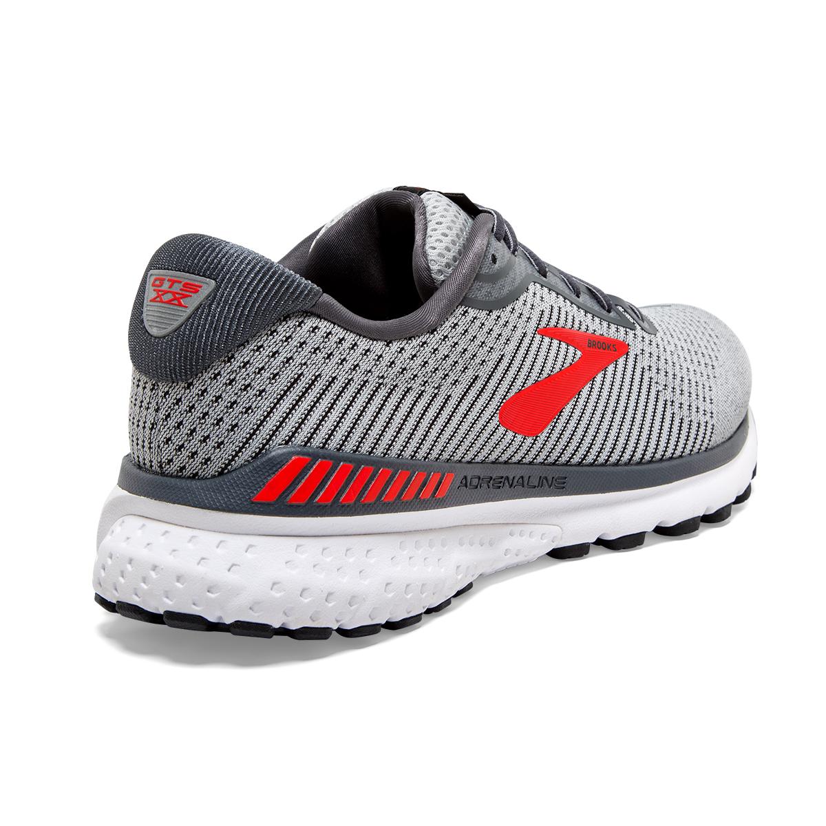 Men's Brooks Adrenaline GTS 20 Running Shoe - Color: Grey/Ebony/Red - Size: 7 - Width: Regular, Grey/Ebony/Red, large, image 4
