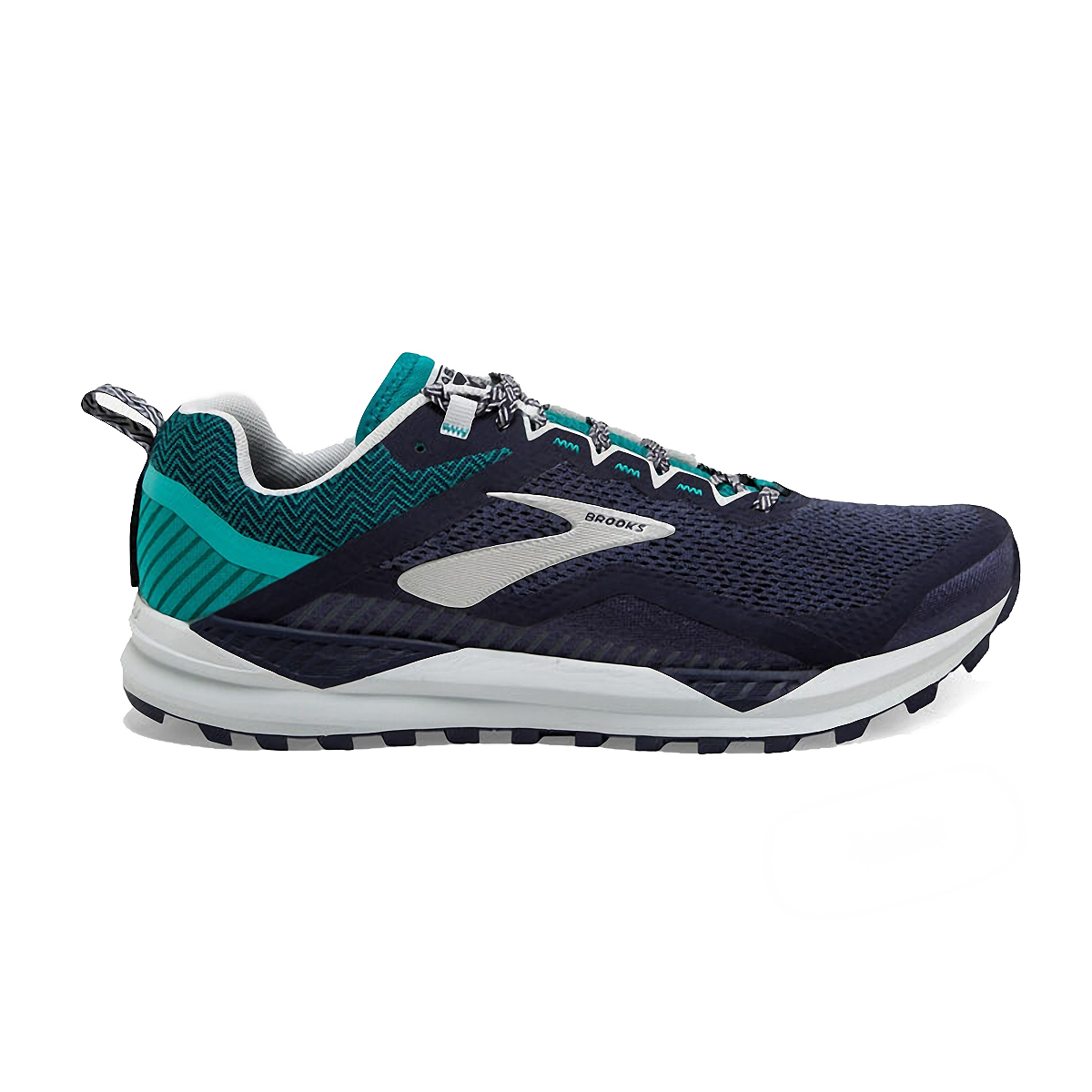 Men's Brooks Cascadia 14 Trail Running Shoe - Color: Navy/Blue Grass - Size: 7 - Width: Regular, Navy/Blue Grass, large, image 1