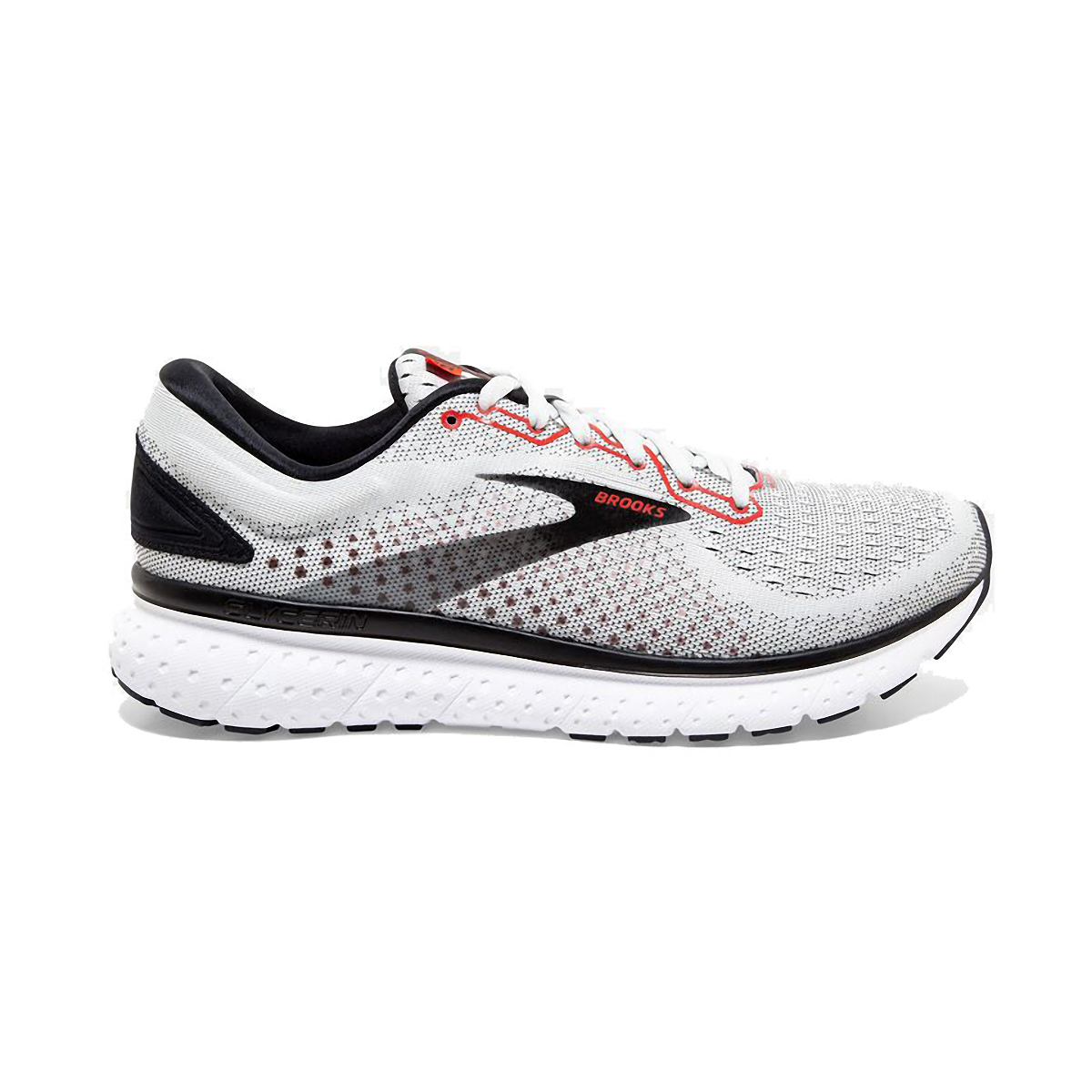 Men's Brooks Glycerin 18 Running Shoe - Color: White/Black/Red - Size: 7 - Width: Regular, White/Black/Red, large, image 1