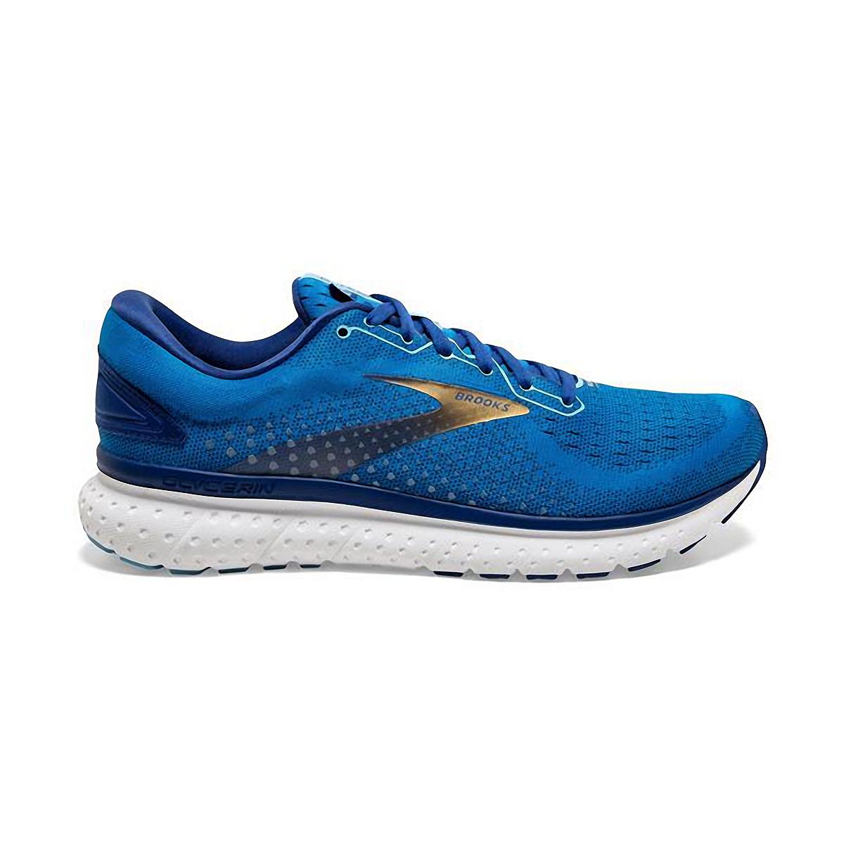 Men's Brooks Glycerin 18 Running Shoe - Color: Blue/Marazine/Gold - Size: 7 - Width: Regular, Blue/Marazine/Gold, large, image 1