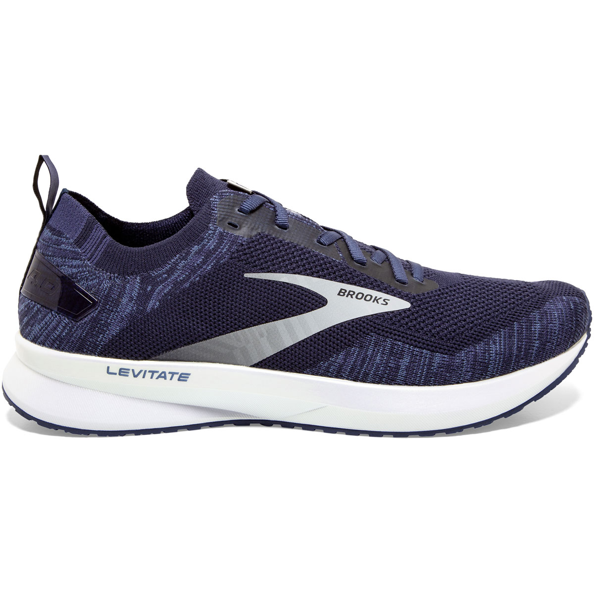 Men's Brooks Levitate 4 Running Shoe - Color: Navy/Grey/White - Size: 7 - Width: Regular, Navy/Grey/White, large, image 1