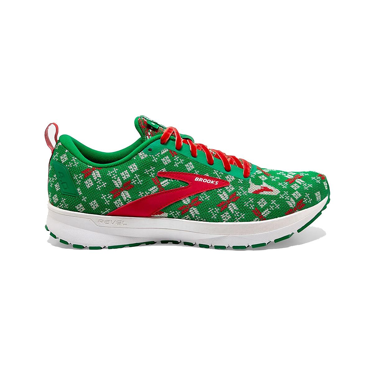 Men's Brooks Run Merry Revel 4 Running Shoe - Color: Jolly Green/Red/White - Size: 7 - Width: Regular, Jolly Green/Red/White, large, image 1