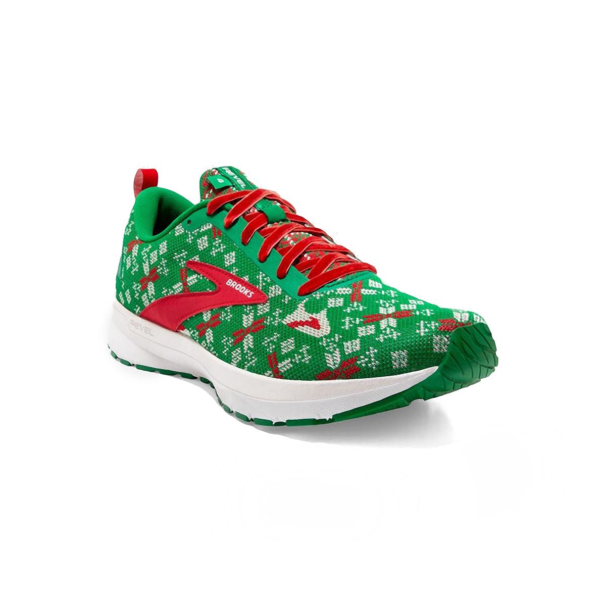 Men's Brooks Run Merry Revel 4 Running Shoe - Color: Jolly Green/Red/White - Size: 7 - Width: Regular, Jolly Green/Red/White, large, image 3