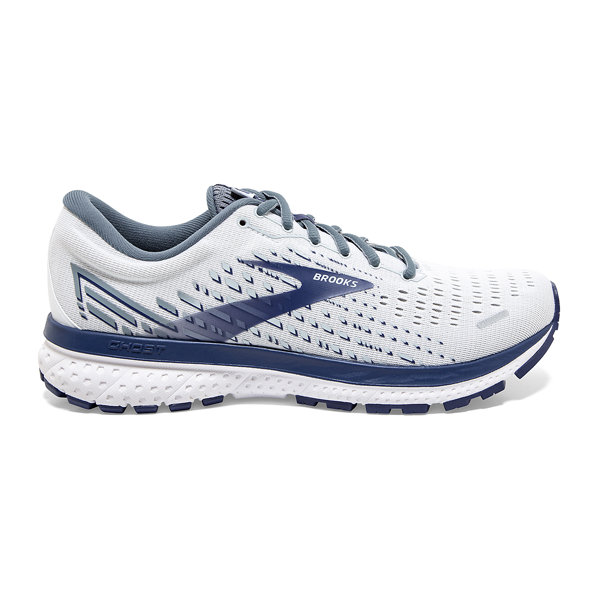 Men's Brooks Ghost 13 Running Shoe - Color: White/Grey/Deep Blue - Size: 7 - Width: Regular, White/Grey/Deep Blue, large, image 1