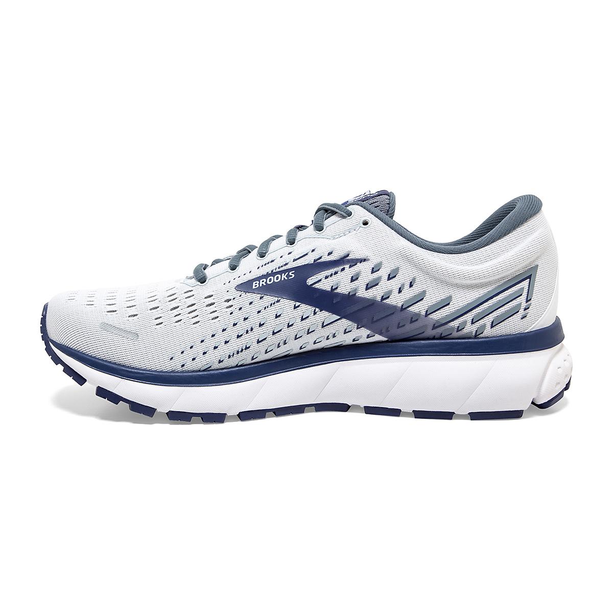 Men's Brooks Ghost 13 Running Shoe - Color: White/Grey/Deep Blue - Size: 7 - Width: Regular, White/Grey/Deep Blue, large, image 2
