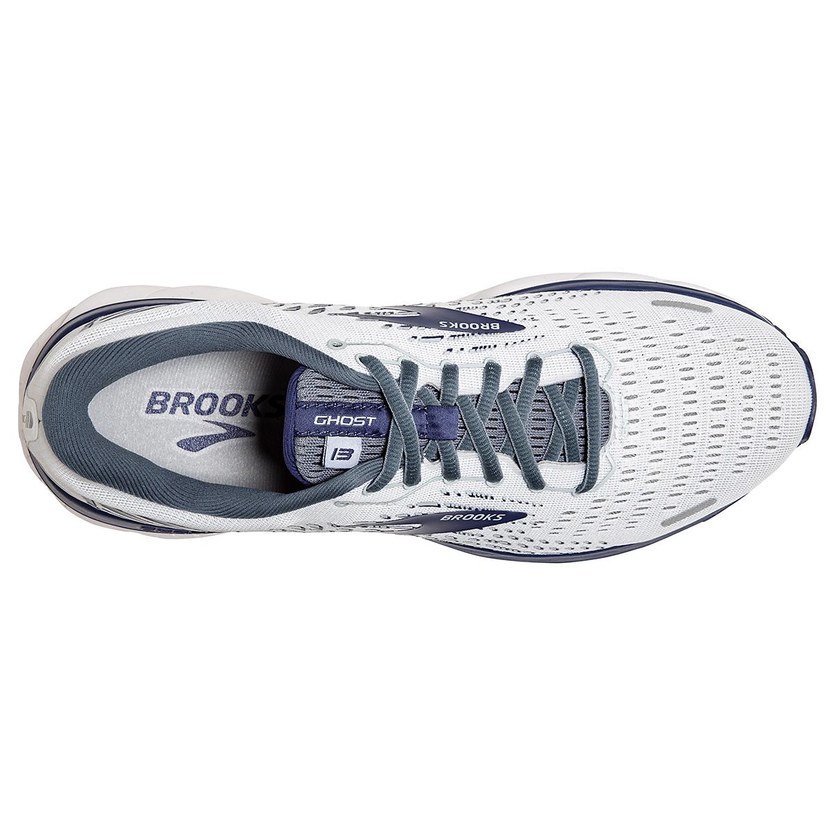 Men's Brooks Ghost 13 Running Shoe - Color: White/Grey/Deep Blue - Size: 7 - Width: Regular, White/Grey/Deep Blue, large, image 3